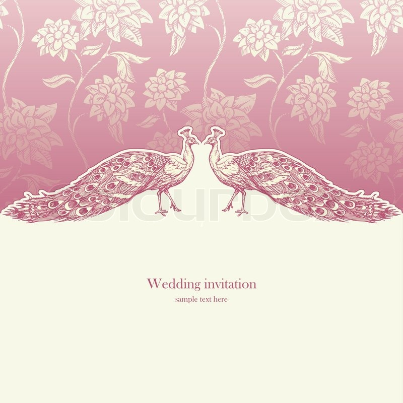 vintage wedding invitation card antique background luxury greeting card beautiful ornamental page cover with peacocks floral elegant design stock - Wedding Invitation Background