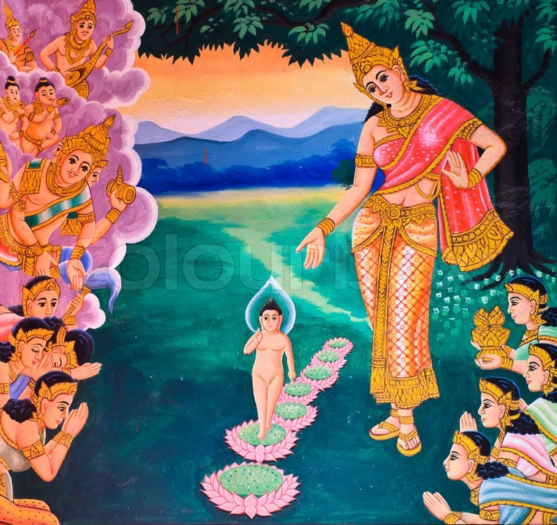 Traditional thai mural painting of the life of buddha on for Buddha mural art