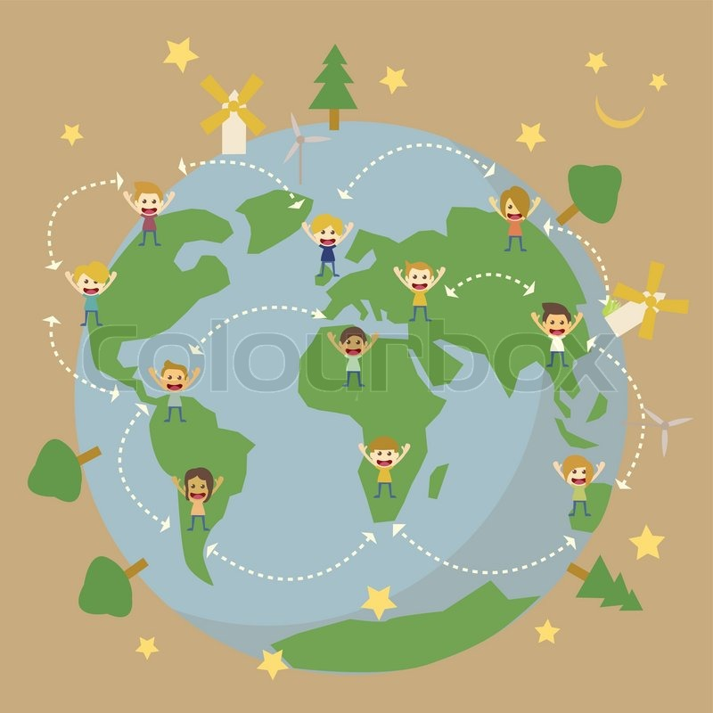 Wonderful World Globe Map,children Around The World Save The Planet Earth | Stock  Vector | Colourbox