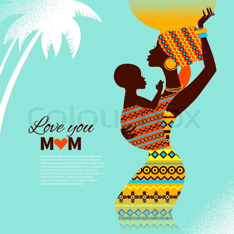 Stock vector of beautiful silhouette of black african mother and baby