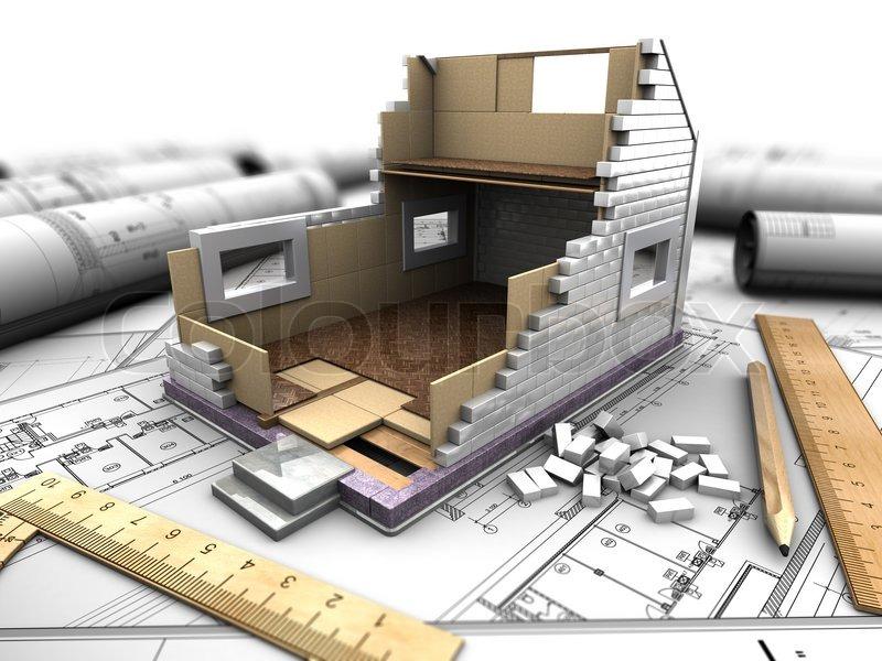 layout des hauses und blaupausen stockfoto colourbox. Black Bedroom Furniture Sets. Home Design Ideas