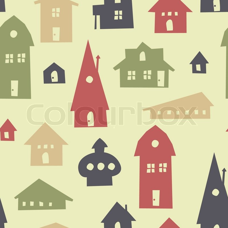 Different shapes houses seamless pattern vector stock for Different shapes of houses