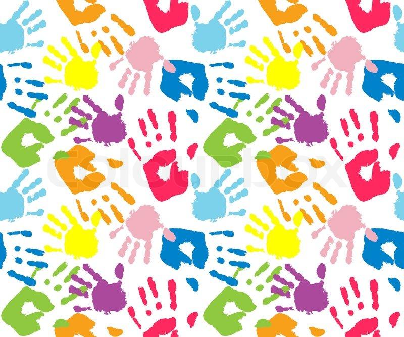 Kinder Und Mutter Handabdruck Vektorgrafik Colourbox