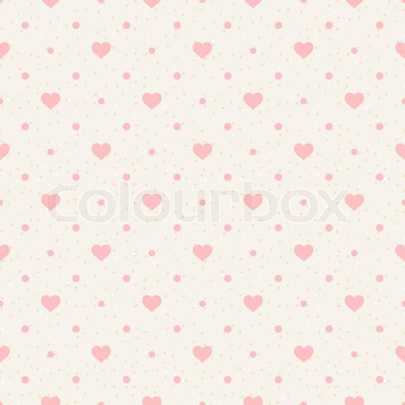 Retro nahtlose Muster Rosa Herzen und Punkte auf beige Hintergrund   Vektorgrafik   Colourbox