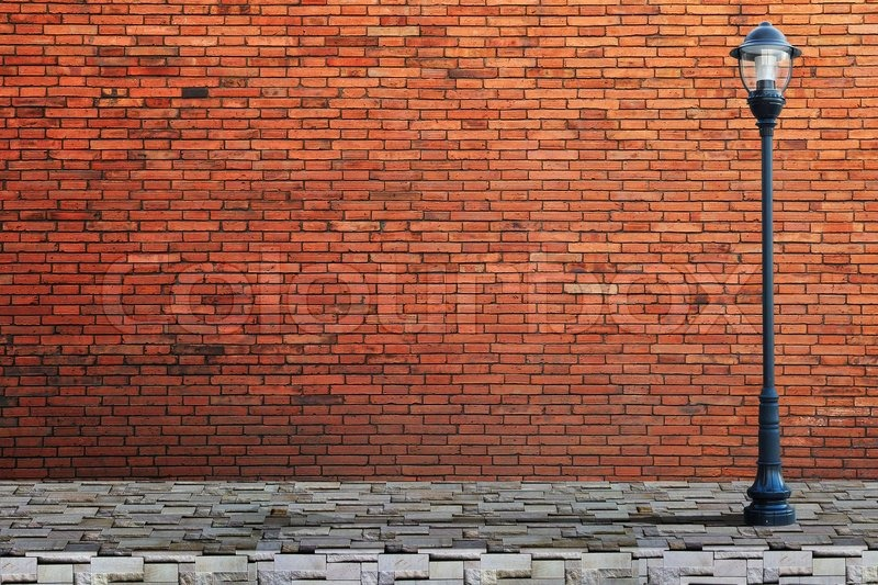 Brick Vector Picture Brick Veneers: Lamp Post Street On Brick Wall ...