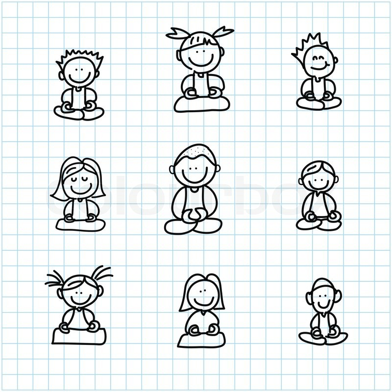 hand drawing cartoon happy people meditation on graph paper stock