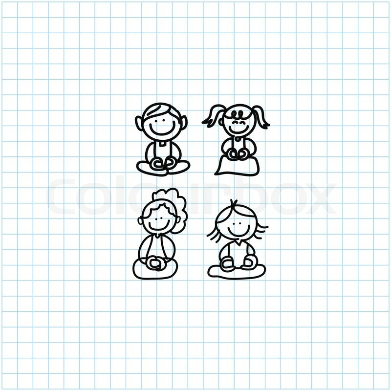 hand drawing cartoon happy people meditation on graph