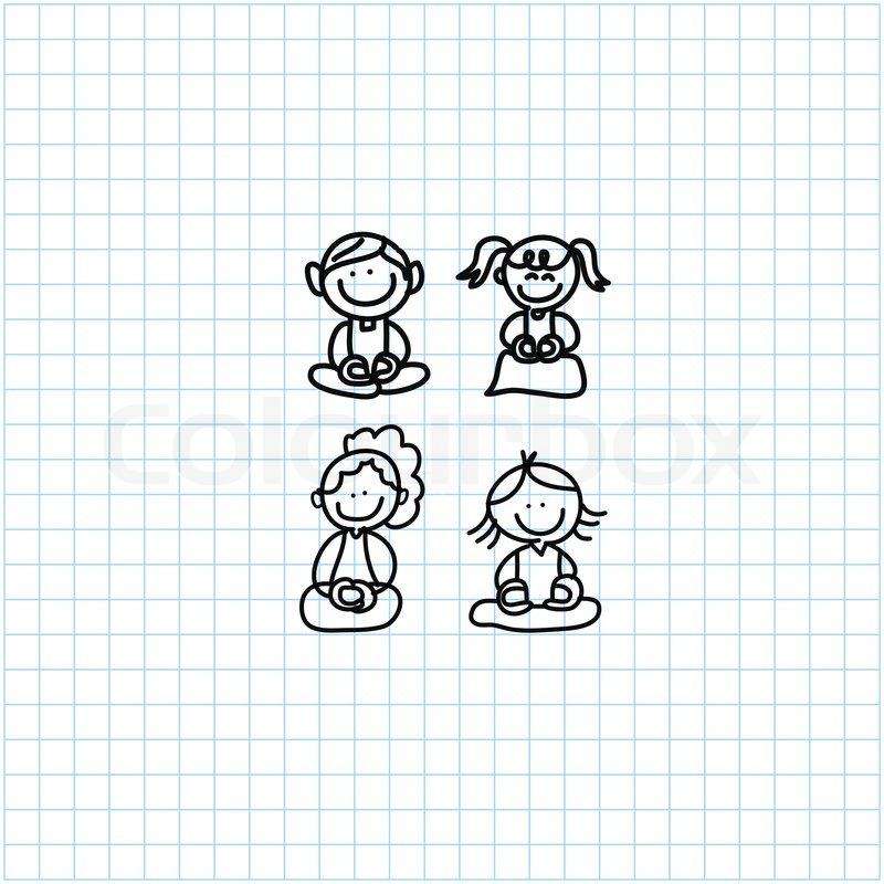 ... people meditation on graph paper illustration   Vector   Colourbox