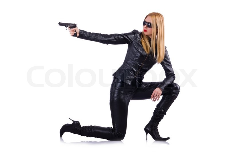 Woman In Leather Suit With Handgun Stock Photo Colourbox