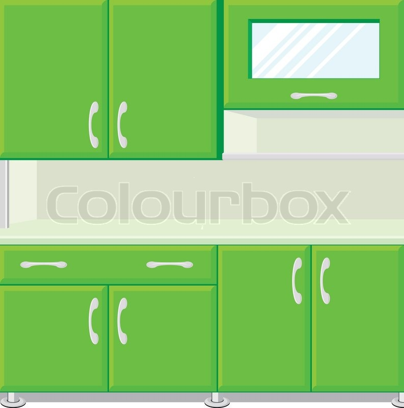 Cartoon Kitchen Furniture: Vector Illustration Of Kitchen With Kitchen Cabinets