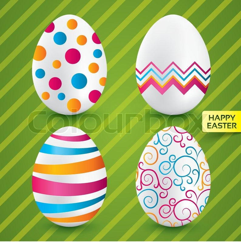 Happy Easter White Eggs With Colorful Patterns