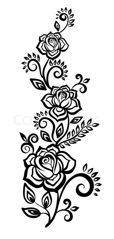 stock vector of black and white flowers and leaves floral design element - Black And White Design