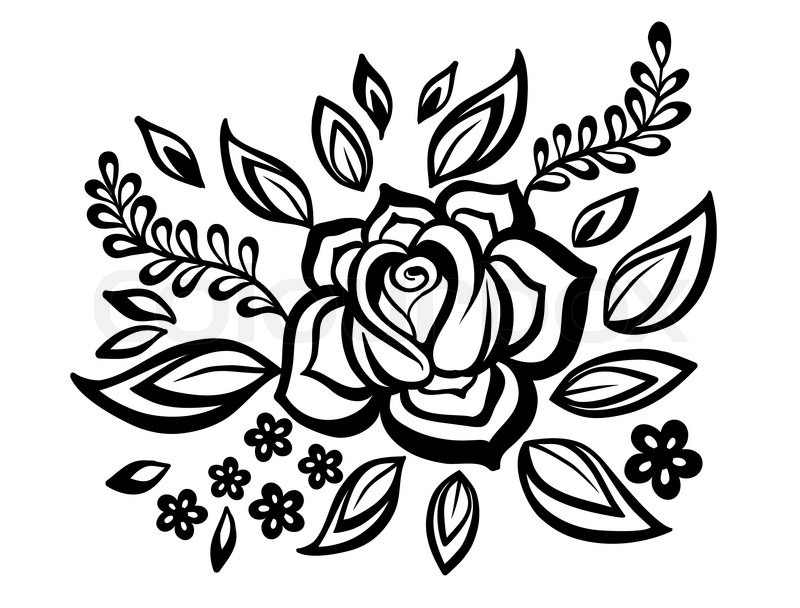 Smukke blomstermotiver element sort hvide blomster og blade design element med imiteret guipure - Design art black and white ...