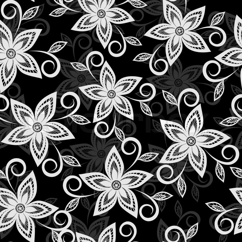 Black Flower Rose From Lace On White Background: Beautiful Black And White Floral Background Lace Flowers