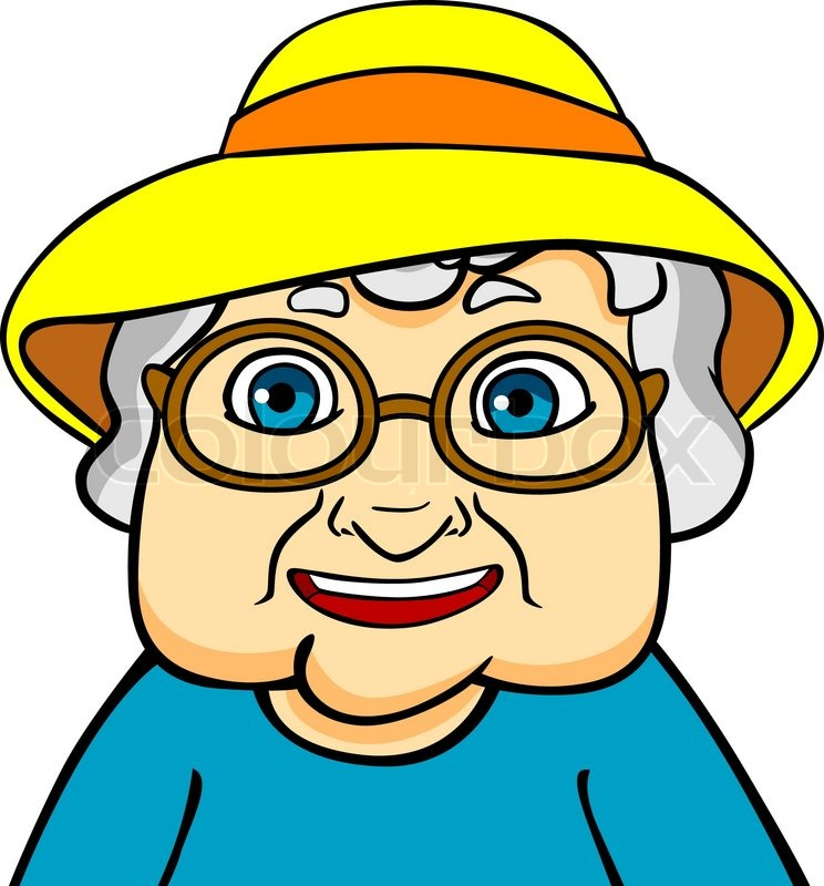 Old grandmother in hat and eyeglasses. Vector ilustration ...
