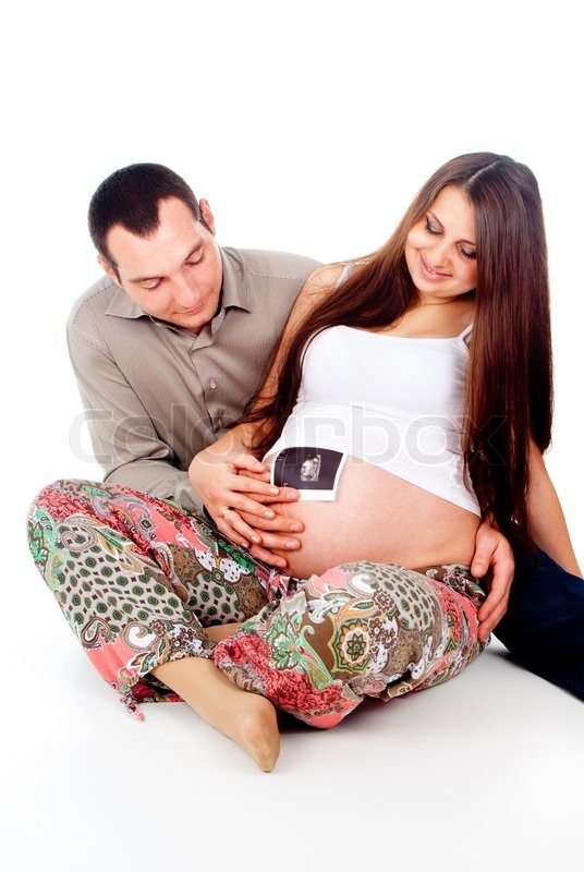 c463ecae290 Mand og en gravid kone holde billedet ... | Stock foto | Colourbox