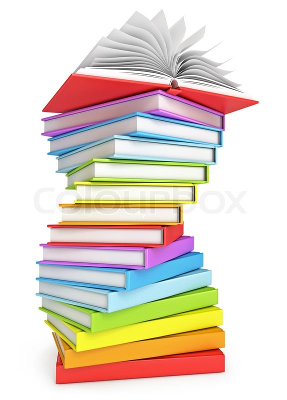 Stack of books with open book on the top. Isolated on white ...