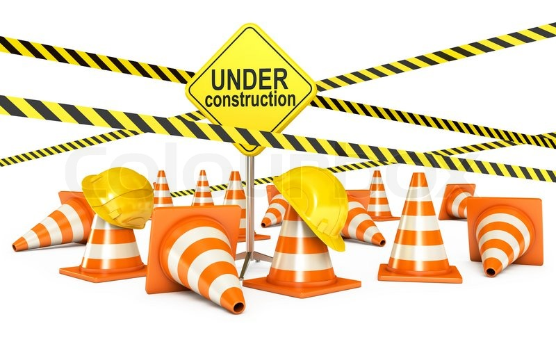 Under Construction Tape Background Traffic cones R...