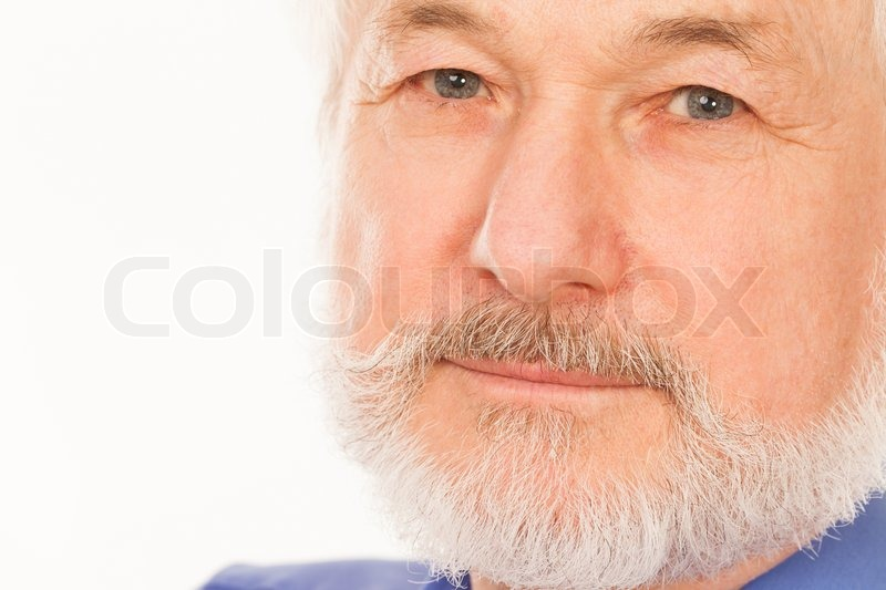 Stock image of 'Handsome elderly man with gray beard over white background'