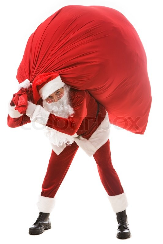 Portrait of strong santa claus holding big red sack with