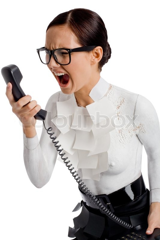 Angry secretary, stock photo