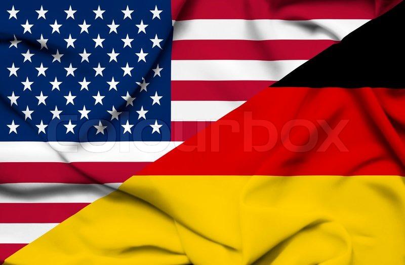 Vereinigten Staaten von Amerika und Deutschland winkenden Flagge