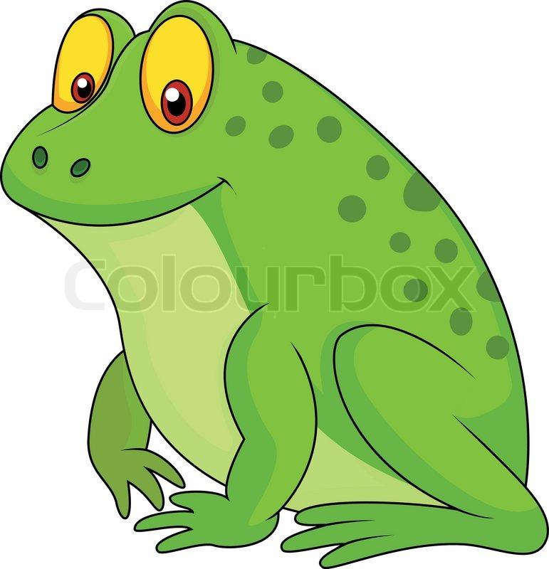 Cute green frog cartoon Stock Vector Colourbox