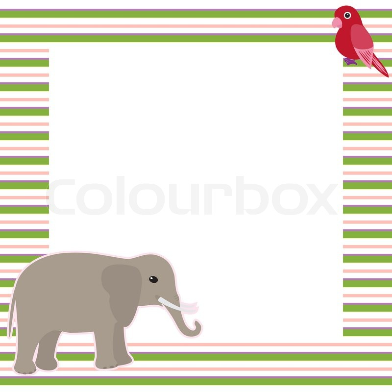 Vector card with elephant and parrot | Stock Vector | Colourbox