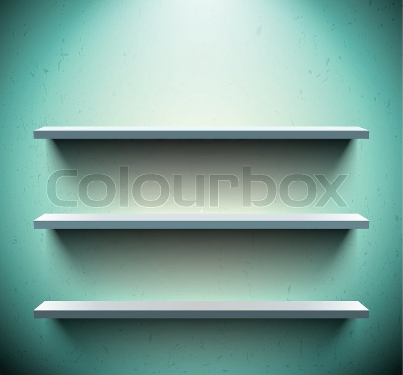Cool Tre hylder på blå væg | Stock vektor | Colourbox QO84