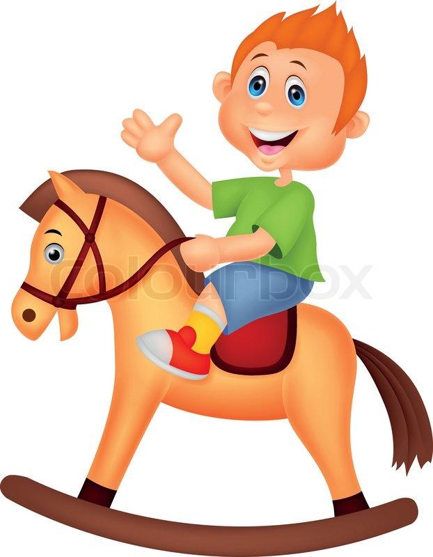 Cartoon boy riding a horse toy | Stock Vector | Colourbox