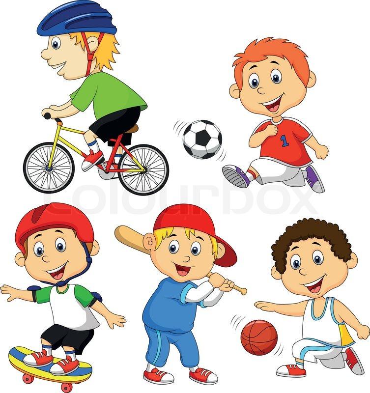Vector illustration of Funny boy cartoon character doing sport ...
