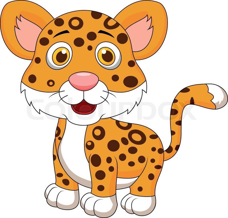 Vector Illustration Of Cute Baby Jaguar Cartoon Stock
