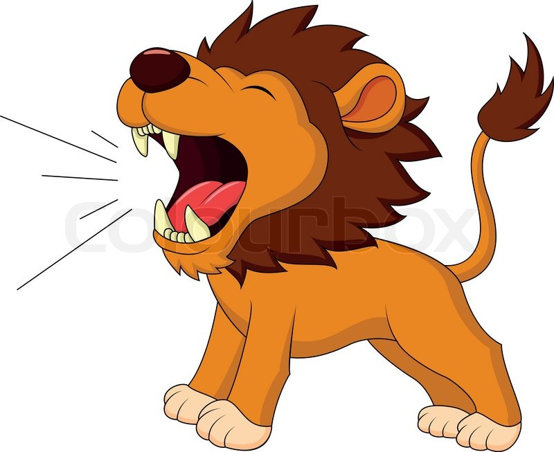 lion cartoon roaring stock vector colourbox