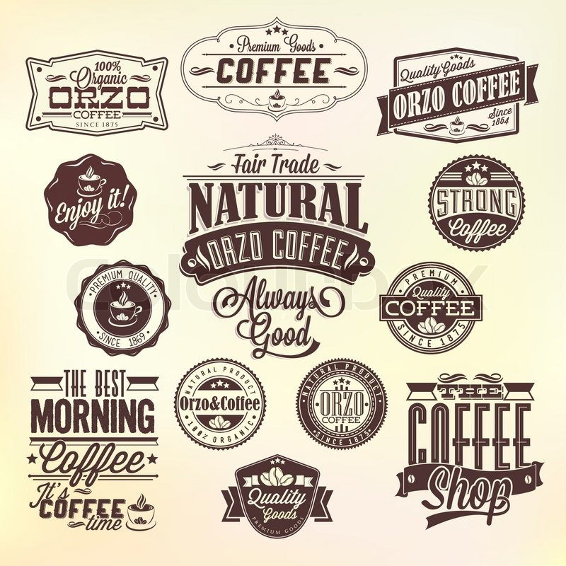 Set Of Vintage Retro Orzo Coffee Labels . Coffee