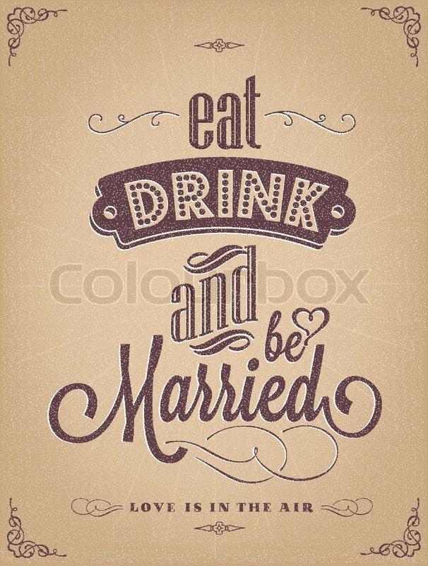 Wedding Invitation Vintage Typographic Background | Stock Vector ...