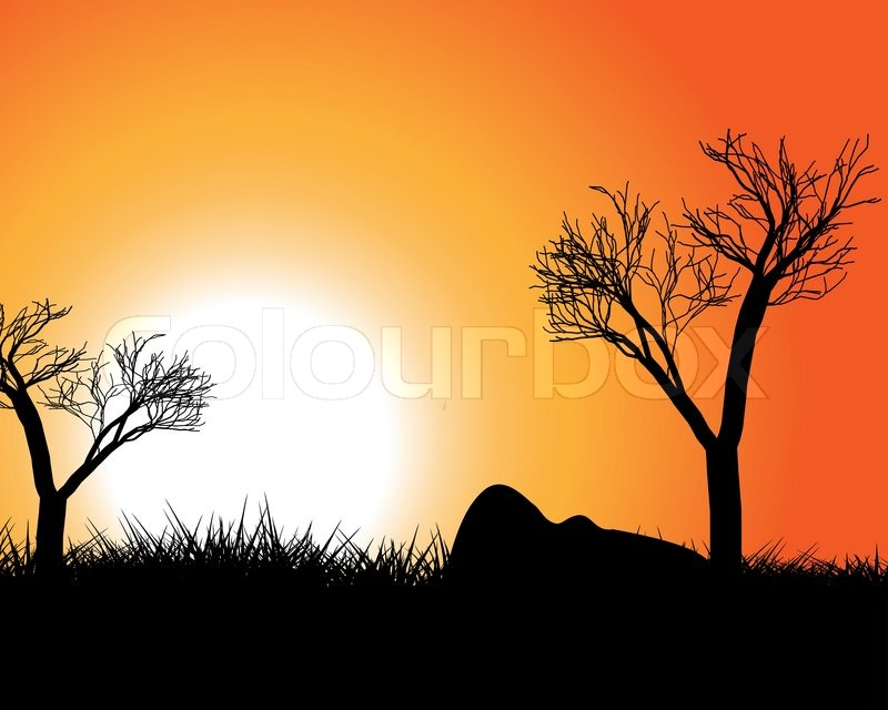 Sunset in africa stock vector colourbox - Impressive house with tranquil environment to get total relaxation ...