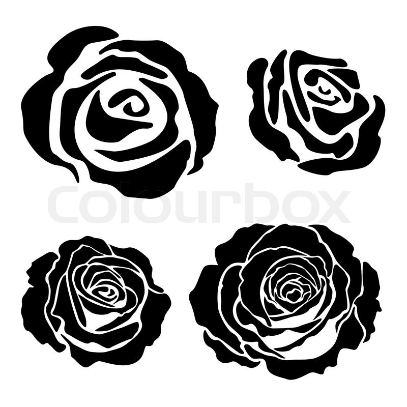 Set of different graphic rose silhouettes, suitable for ...