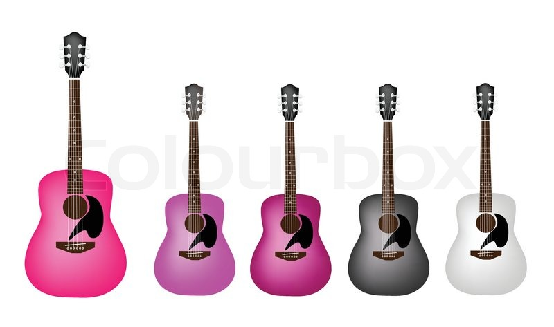 A Beautiful Classical Guitar On White Background