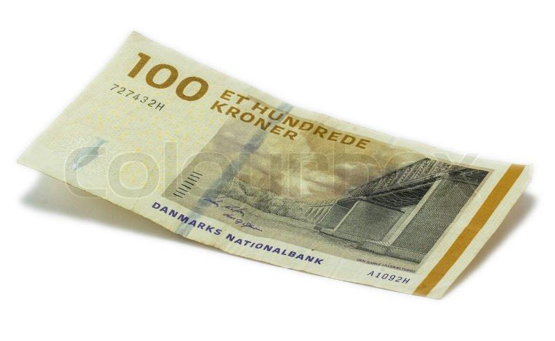 100 krone seddel på hvid baggrund | stock foto | Colourbox