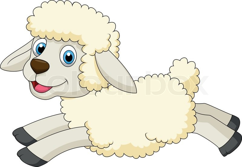 cute sheep cartoon jumping stock vector colourbox rh colourbox com baby lamb cartoon images Cartoon Sheep