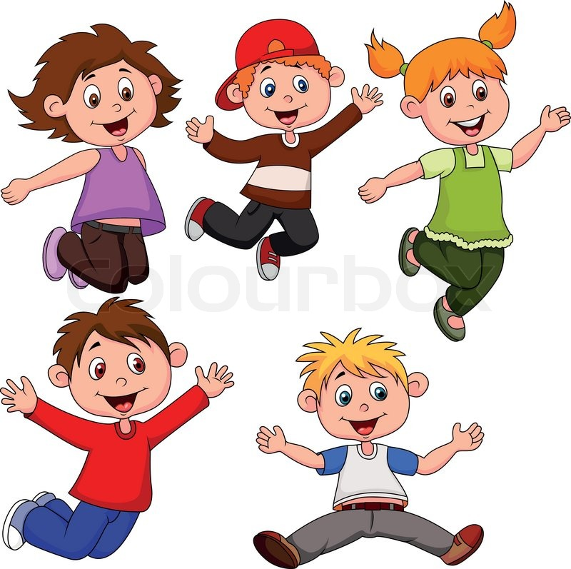 Vector Illustration Of Happy Children Cartoon Stock