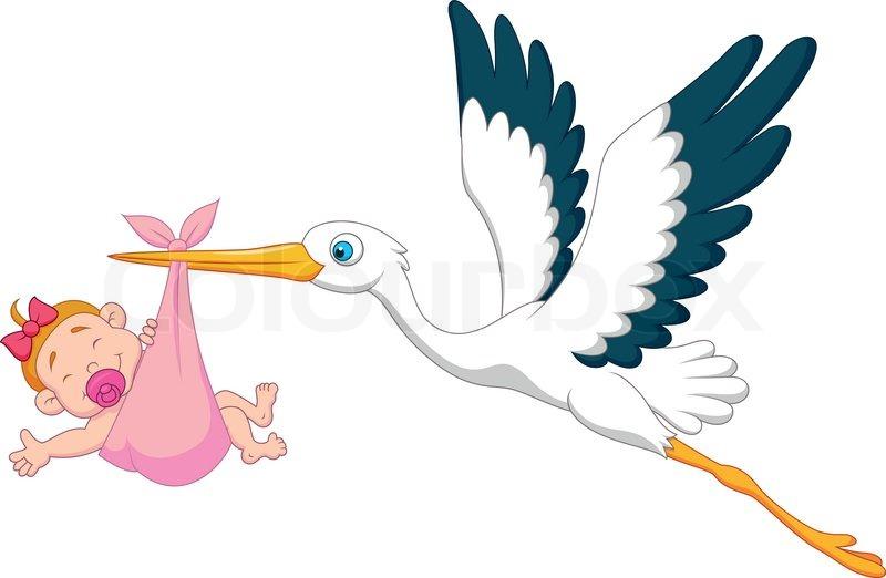 vector illustration of stork with baby girl cartoon stock vector