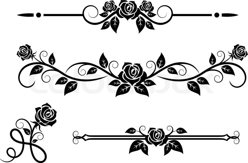 Rose flowers with vintage elements and borders | Stock ...