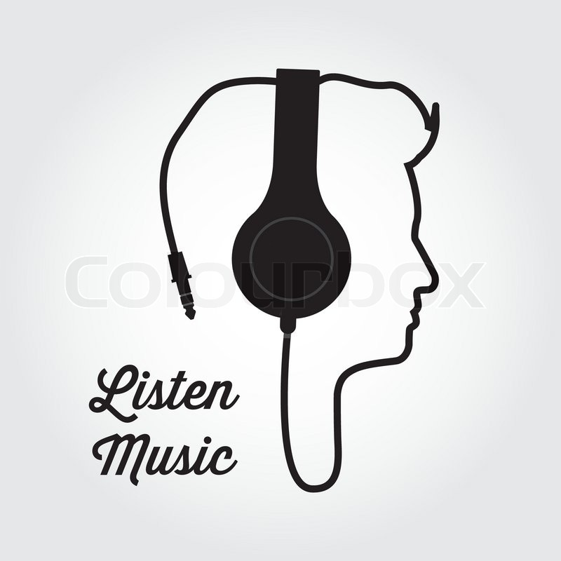 Man profile silhouette with headphone music illustration ...
