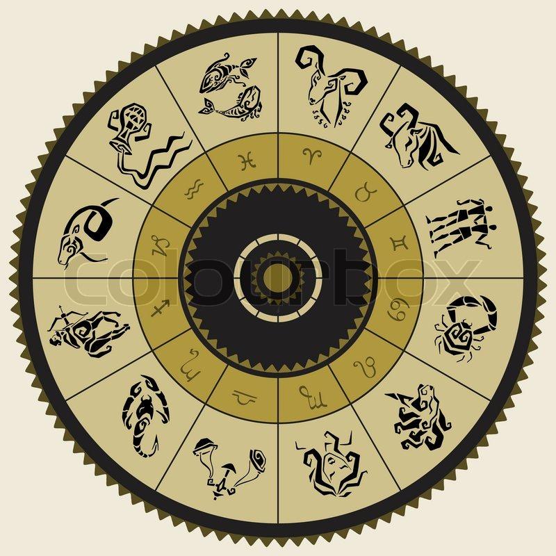 horoskop kreis sternzeichen vektorgrafik colourbox. Black Bedroom Furniture Sets. Home Design Ideas