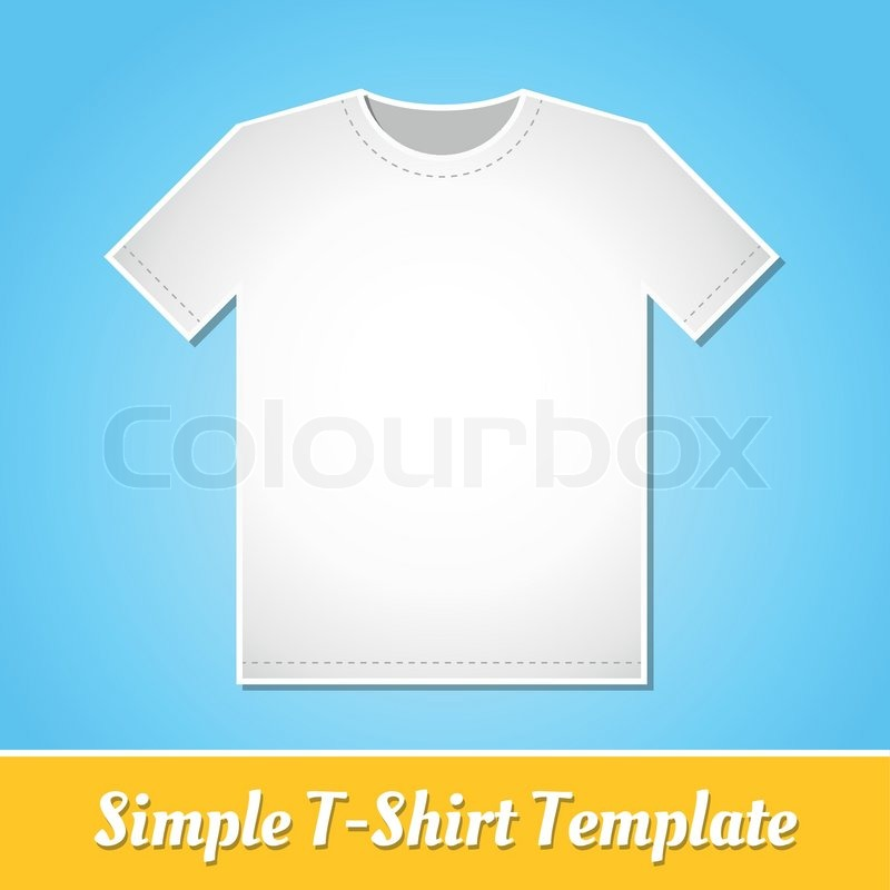 simple white t shirt template isolated on light blue background