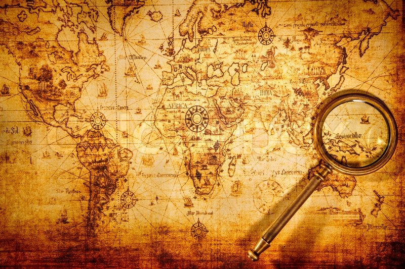 Vintage magnifying glass lies on an ancient world map stock photo editorial image of vintage magnifying glass lies on an ancient world map gumiabroncs Gallery
