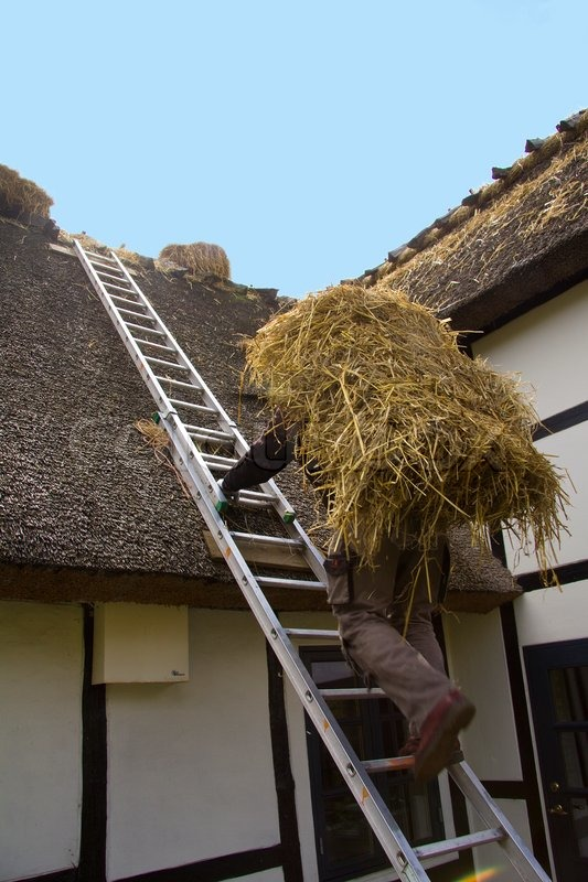Repairing A Thatched Roof Stock Photo Colourbox
