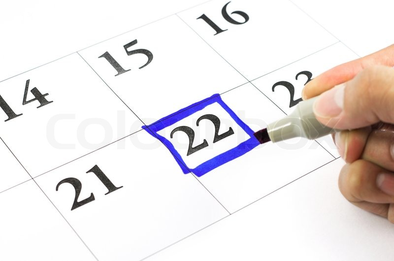 Blue color. Mark on the calendar at 22, stock photo
