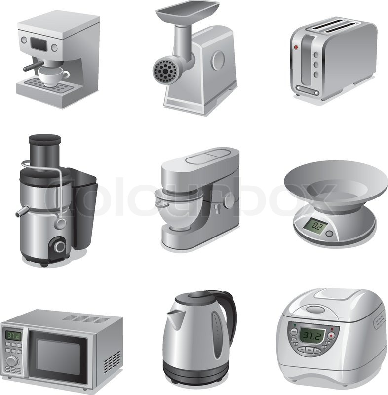 small kitchen appliances icon set stock vector colourbox